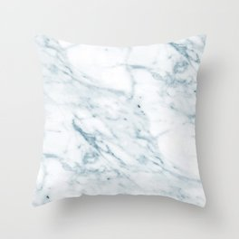 Stone cold blue faux marble texture Throw Pillow