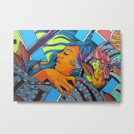 Urban Street Art: Vibrant Sleeper Mural Metal Print