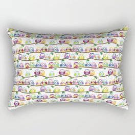 Colorful Owls On Branches Rectangular Pillow