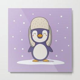 Kawaii Cute Christmas and Winter Penguin Metal Print