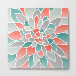 Floral Prints, Coral, Teal and Gray, Art for Walls Metal Print