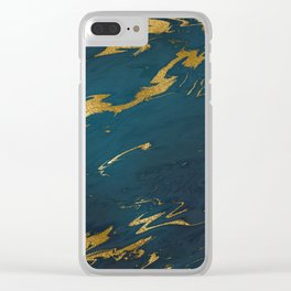 Teal Gold Marble Clear iPhone Case