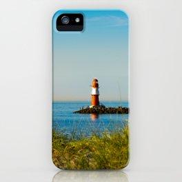 Red lighthouse in Warnemünde iPhone Case