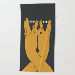 Hands mask Beach Towel