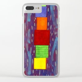 Colorful piled Cubes within free Painting Clear iPhone Case