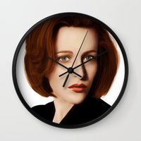 dana scully Wall Clocks featuring Scully by Alexia Rose