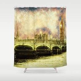 Abstract Golden Westminster Bridge in London Shower Curtain
