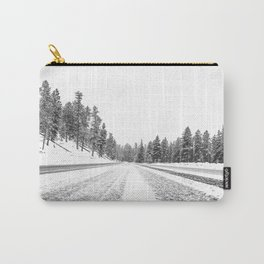 Snow Road // Snowy Winter Wonderland Black and White Landscape Photography Ski Poster Carry-All Pouch