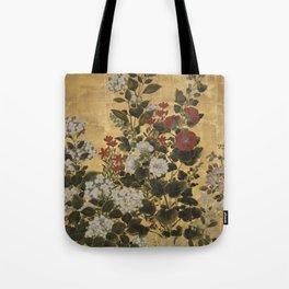 Flowers & Grapes Vintage Japanese Floral Gold Leaf Screen Tote Bag