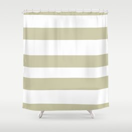 Natural Olive Green - Martinique Dawn - Asian Silk Hand Drawn Fat Horizontal Lines on White Shower Curtain