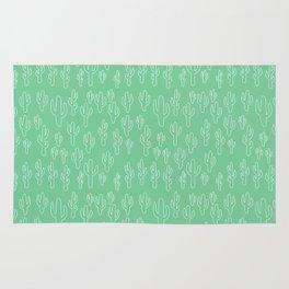 Mint Green Cactus Pattern Rug