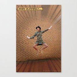 When Suddenly | Retro Comic Book Jump Girl Pop Art Canvas Print