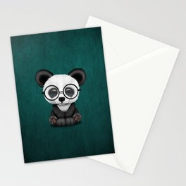 Cute Panda Bear Cub with Eye Glasses on Teal Blue Stationery Cards