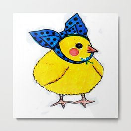 Baby Chick Wears a Blue Bow Metal Print