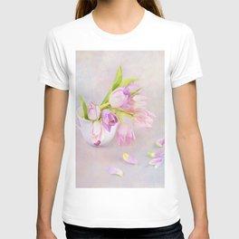 Pink & Purple Tulips In Vintage Tea Cup T-shirt