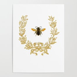 French Bee acorn wreath Poster