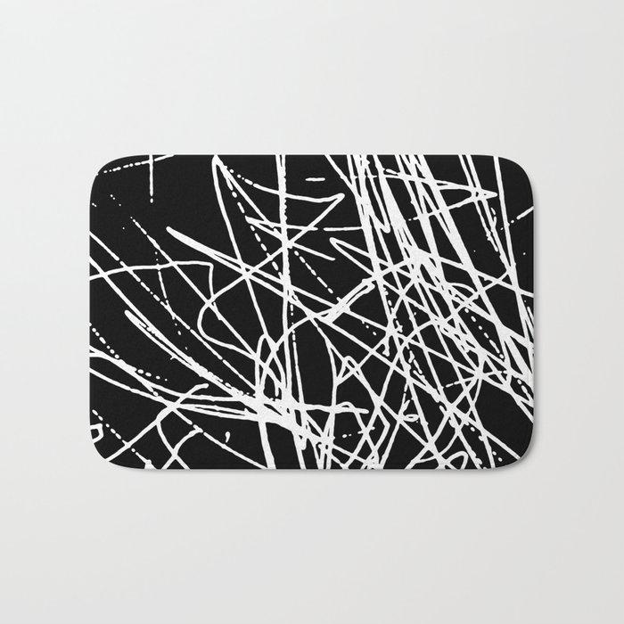 Daisy Scribble Black Bath Mat