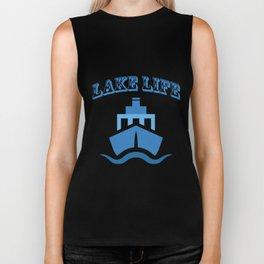 Lake Life Boat Funny Sailing Gif Men Women Biker Tank