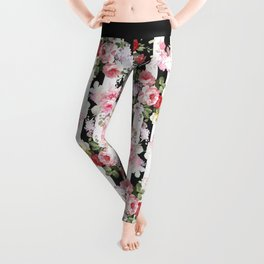 Bold pink watercolor roses floral black white stripes Leggings