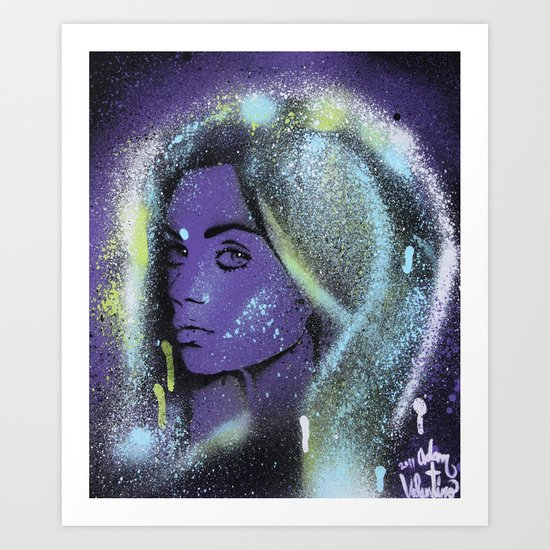 Mila Kunis Stencil Portrait Spray Paint Art Art Print