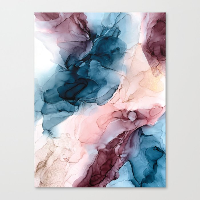 Pastel Plum, Deep Blue, Blush and Gold Abstract Painting Leinwanddruck