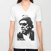 bukowski V-neck T-shirts featuring Charles Bukowski - hero. by alex lodermeier