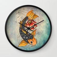 koi Wall Clocks featuring Koi by Tuky Waingan