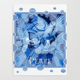 Dove With Celtic Peace Text In Blue Tones Poster