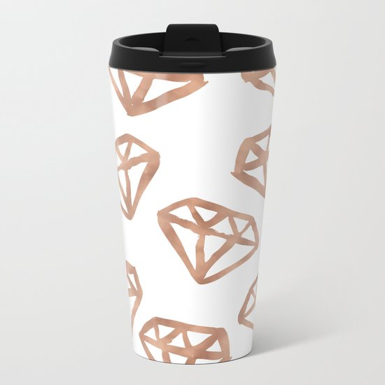 Rose gold diamond print Metal Travel Mug
