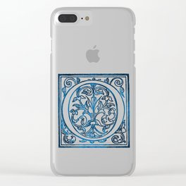 Letter O Antique Floral Letterpress Clear iPhone Case