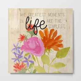 Watercolor Flowers with Saying Metal Print