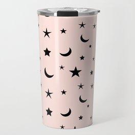 Black moon and star pattern on pink background Travel Mug
