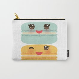 Kawaii macaroon funny orange blue lilac cookie with pink cheeks with pink cheeks and big eyes Carry-All Pouch