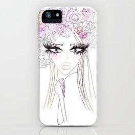Floral girl Portrait iPhone Case