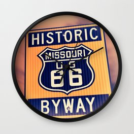 Historic route 66 highway sign in Missouri USA Wall Clock