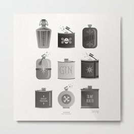 Flask Collection – Black Palette Metal Print