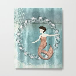 Mermaid Wreath Metal Print