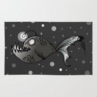 lantern Area & Throw Rugs featuring Lantern Fish by GoAti