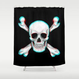 Jolly Roger Pirate Skull Flag Anaglyphic Shower Curtain