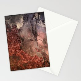 Copper Glitter Stone and Ink Abstract Gem Glamour Marble Stationery Cards
