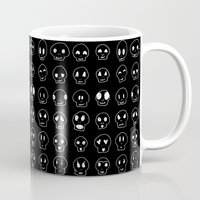 emoji Mugs featuring Cute Emoji Skulls by Leiah M Jansen