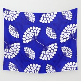African Floral Motif on Royal Blue Wall Tapestry