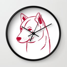 Shiba Inu (White and Red) Wall Clock