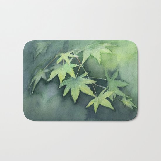 Japanese Maple Watercolor Green Leaves Tree Branch Nature Bath Mat