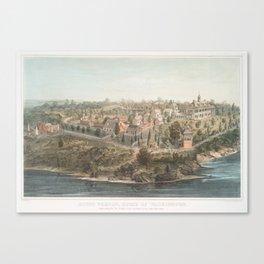 Vintage Pictorial Map of Mount Vernon VA (1859) Canvas Print