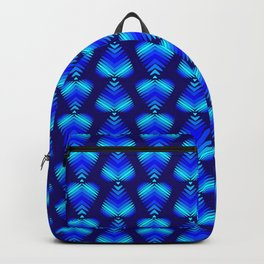 Abstract pattern of blue iridescent hearts and stripes. Backpack