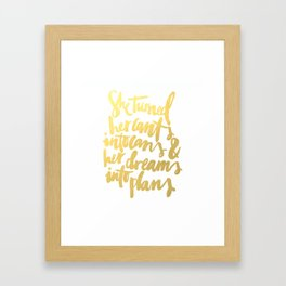 Gold Brushstroke Watercolor SheBelieved She Could Love Heart Ink Calligraphy Inspiration Typography Framed Art Print