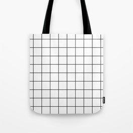 Black and White Thin Grid Graph Tote Bag