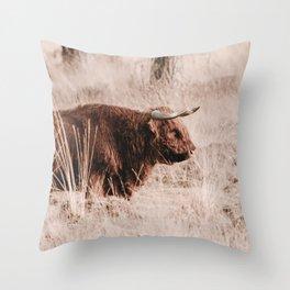 Scottish Highlander Photo   Wildlife Photography Art Print   Scottish Highlander In Deelerwoud Throw Pillow