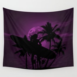 Purple Dusk with Surfergirl in Black Silhouette with Longboard Wall Tapestry